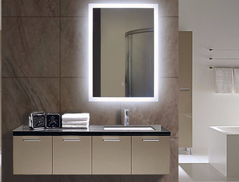 Illuminated bathroom mirror lighted wall mirrors for for Small bathroom mirrors with lights
